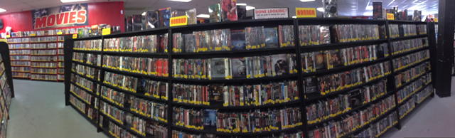 Kagan at Zia Records - Horror Section in Wide Shot